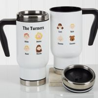 Our Family Characters 14 oz. Travel Mug in White