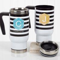 Modern Stripe 14 oz. Travel Mug in White