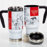 Family Love Photo Collage 14 oz. Travel Mug in White