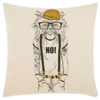 Mina Victory by Nourison Tattooed Cat Square Throw Pillow in Natural