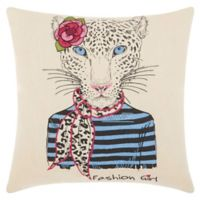 Mina Victory by Nourison Scarf Snow Leopard Square Throw Pillow