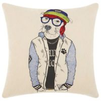 Mina Victory by Nourison Cool Pitbull Square Throw Pillow in Natural
