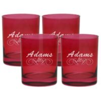 Carved Solutions Adams Double Old Fashioned Glasses in Ruby (Set of 4)