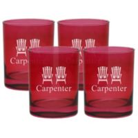 Carved Solutions Adirondack Chair Double Old Fashioned Glasses in Ruby (Set of 4)