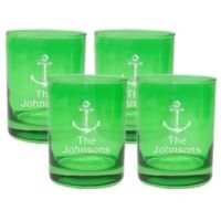 Carved Solutions Anchor Double Old Fashioned Glasses in Emerald (Set of 4)