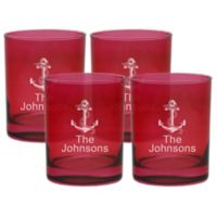 Carved Solutions Anchor Double Old Fashioned Glasses in Ruby (Set of 4)