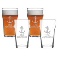 Carved Solutions Anchor Pub Glasses (Set of 4)