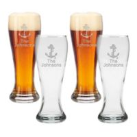 Carved Solutions Anchor Clear Pilsner Glasses (Set of 4)
