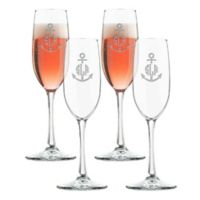 Carved Solutions Anchor Champagne Flutes (Set of 4)