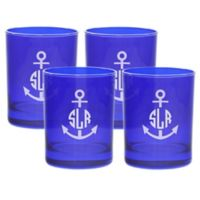 Carved Solutions Anchor Double Old Fashioned Glasses in Sapphire (Set of 4)