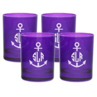 Carved Solutions Anchor Double Old Fashioned Glasses in Amethyst (Set of 4)
