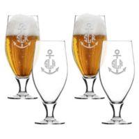 Carved Solutions Anchor Cervoise Glasses (Set of 4)