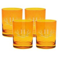 Carved Solutions Antler Double Old Fashioned Glasses in Topaz (Set of 4)