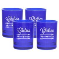 Carved Solutions Arrows Double Old Fashioned Glasses in Sapphire (Set of 4)