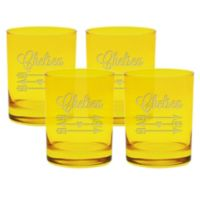 Carved Solutions Arrows Double Old Fashioned Glasses in Citrine (Set of 4)