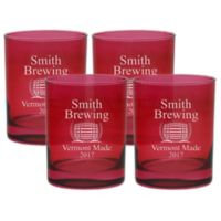 Carved Solutions Brewing Double Old Fashioned Glasses in Ruby (Set of 4)