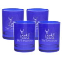 Carved Solutions Deer Double Old Fashioned Glasses in Sapphire (Set of 4)