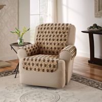 Polyester Paw Print Recliner Protector in Natural