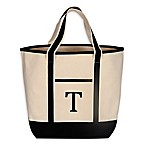 Monogram Embroidered Block Letter  T  Large Canvas Tote Bag