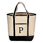 "Monogram Embroidered Block Letter ""P"" Large Canvas Tote Bag"