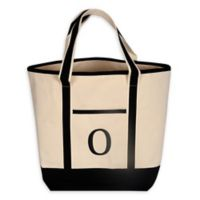"Monogram Embroidered Block Letter ""O"" Large Canvas Tote Bag"