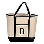 "Monogram Embroidered Block Letter ""B"" Large Canvas Tote Bag"