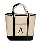 Monogram Embroidered Block  A  Large Canvas Tote Bag