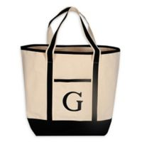 "Monogram Embroidered Block Letter ""G"" Large Canvas Tote Bag"
