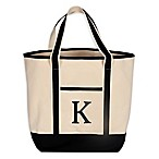 "Monogram Embroidered Block Letter ""K"" Large Canvas Tote Bag"