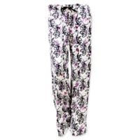 Hello Mello Large Floral Lounge Pants in White/Charcoal