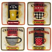 Certified International Coffee Always by LoriLynn Simms Canape Plates (Set of 4)