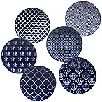 Certified International Blue Indigo by Bronson Pinchot Canape Plates (Set of 6)