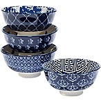 Certified International Blue Indigo by Bronson Pinchot Ice Cream Bowls (Set of 4)