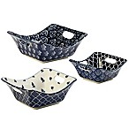 Certified International Blue Indigo by Bronson Pinchot Square Bowls with Cutout Handles (Set of 3)