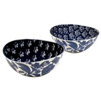 Certified International Blue Indigo by Bronson Pinchot Oval Bowls (Set of 2)