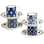 Certified International Blue Indigo by Bronson Pinchot Espresso Cups & Saucers (Set of 4)