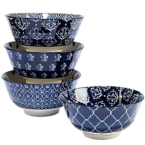 image of Certified International Blue Indigo by Bronson Pinchot Tidbit Bowls (Set of 4)