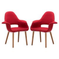 Poly And Bark Dining Wood Chair in Red (Set of 2)