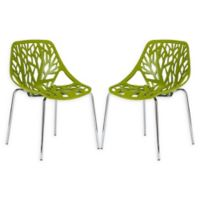 Poly And Bark Birds Nest Dining Side Chair in Green (Set of 2)