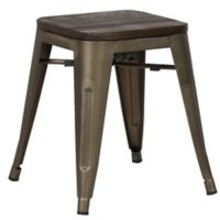 "Poly and Bark Trattoria 18"" Stool in Elm Wood Bronze"