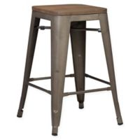 Poly and Bark Trattoria 24-Inch Counter Height Stool with Elmwood Seat in Bronze