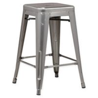 Poly and Bark Trattoria 24-Inch Counter Height Stool in Polished Gunmetal