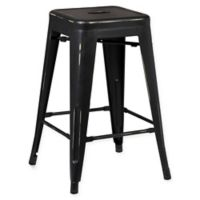 Poly and Bark Trattoria 24-Inch Counter Height Stool in Distressed Black