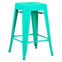 Poly and Bark Trattoria 24-Inch Counter Height Stool in Aqua