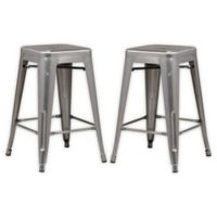 "Poly and Bark Trattoria 24"" Counter Height Stool in Gunmetal (Set of 2)"