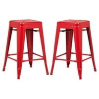 """Poly and Bark Trattoria 24"""" Counter Height Stool in Red (Set of 2)"""