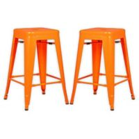 """Poly and Bark Trattoria 24"""" Counter Height Stool in Orange (Set of 2)"""