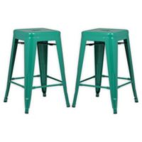 """Poly and Bark Trattoria 24"""" Counter Height Stool in Dark Green (Set of 2)"""