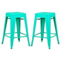 "Poly and Bark Trattoria 24"" Counter Height Stool in Aqua (Set of 2)"