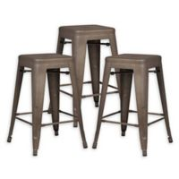 "Poly and Bark Trattoria 24"" Counter Height Stool in Bronze (Set of 3)"